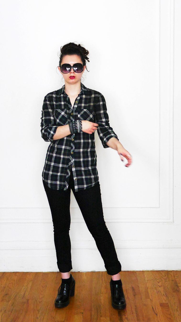Summer 2017 10x10 Plaid Shirt+Black Jeans 6